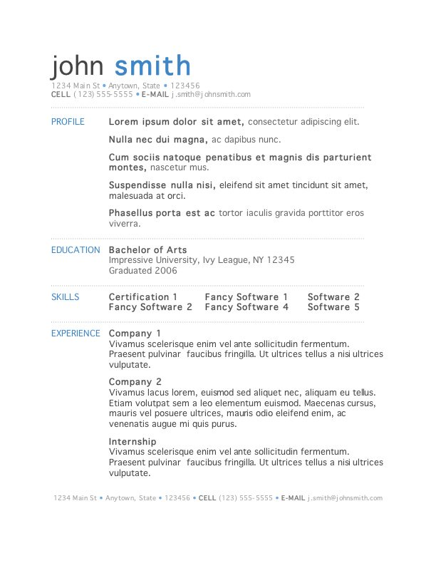 Stylish Resume Template for Word profile experience & skills