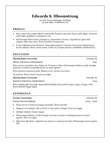 Traditional resume template traditional profile experience