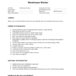 Warehouse Worker Job Description summary and primary responsibilities