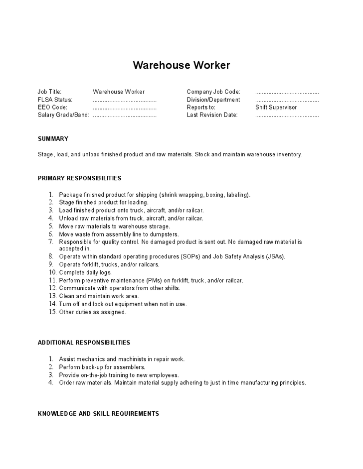 2016 warehouse job description
