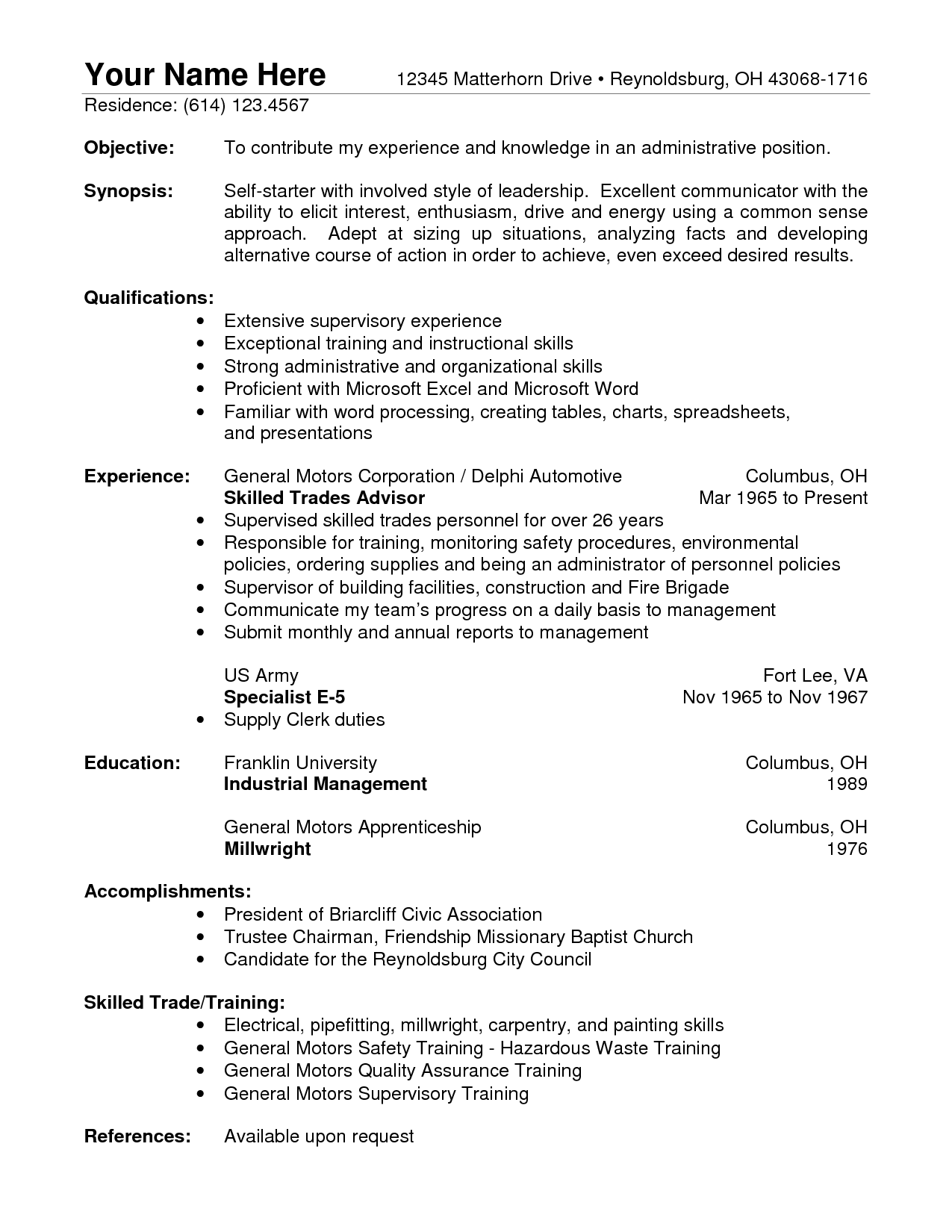 Construction Foreman Resume Objective  Resume Objective For Warehouse
