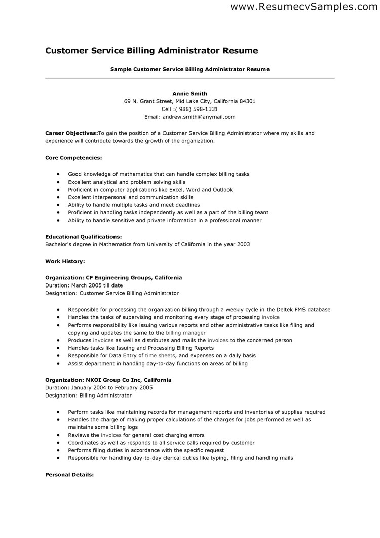 a good example of a customer service resume Customer Service