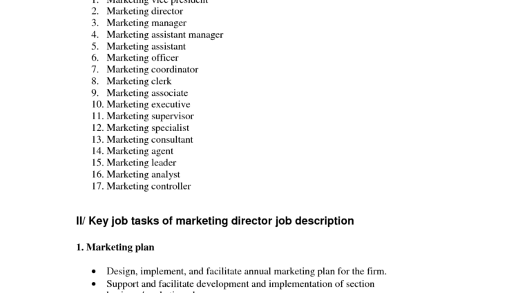Assistant Marketing Manager Job Description Marketing