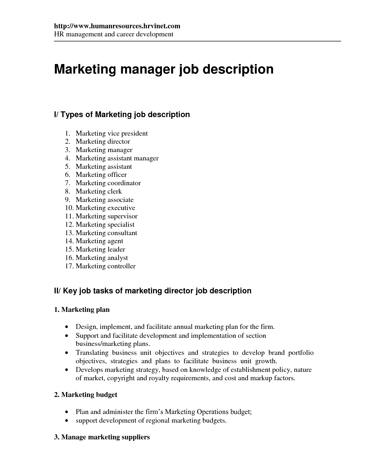 assistant marketing manager job description marketing director job ...