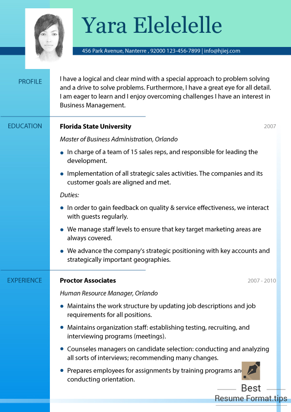 best font to use for resume 2016 prifile & experience