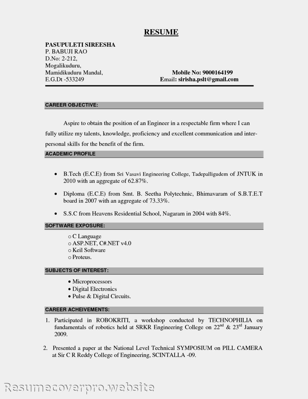 resume examples for job