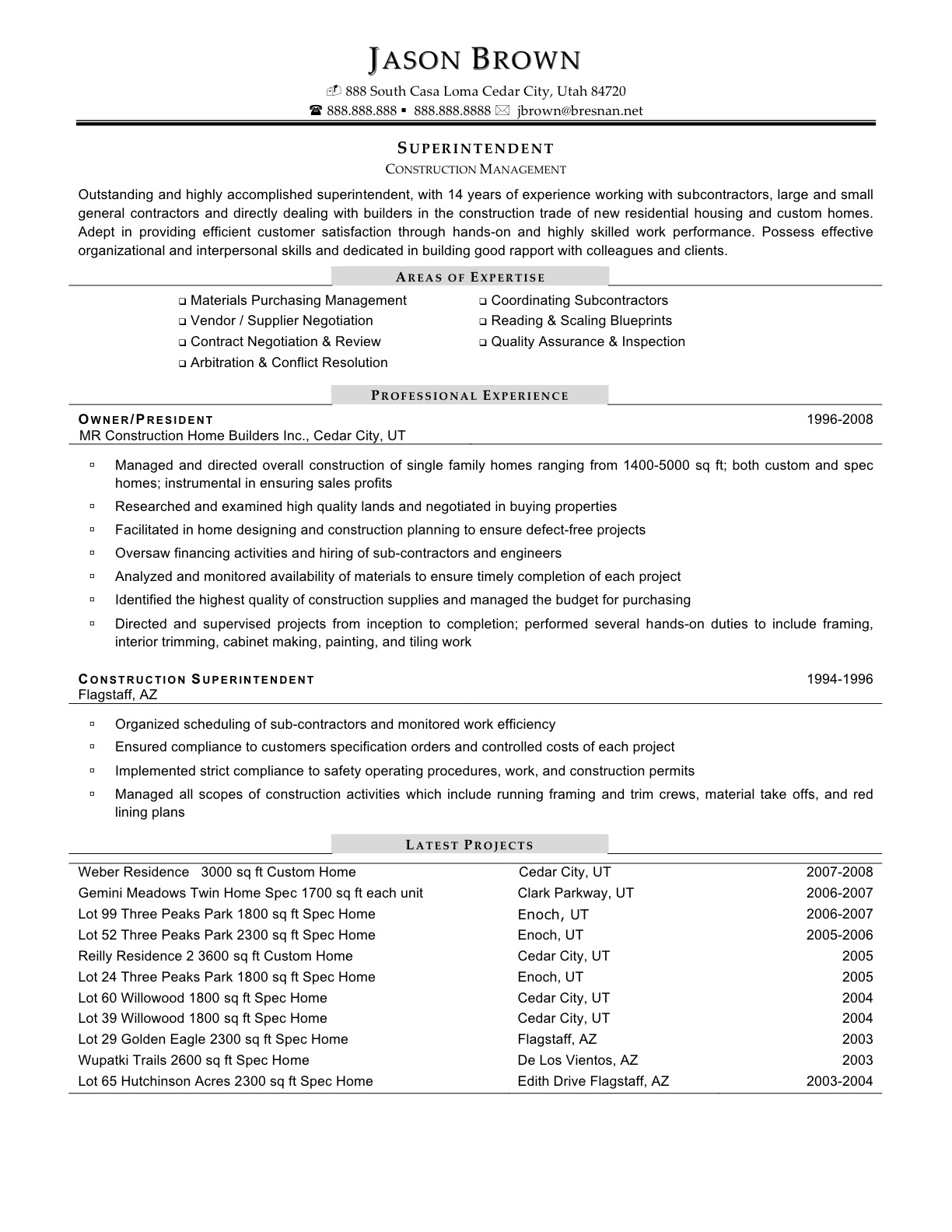 construction management resume templates resume template builder