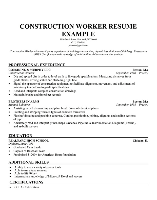 construction worker resume example professional experience - Sample Resume Construction Worker
