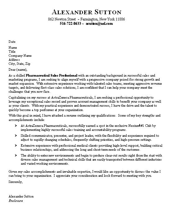 entry level pharmaceutical sales cover letter sample