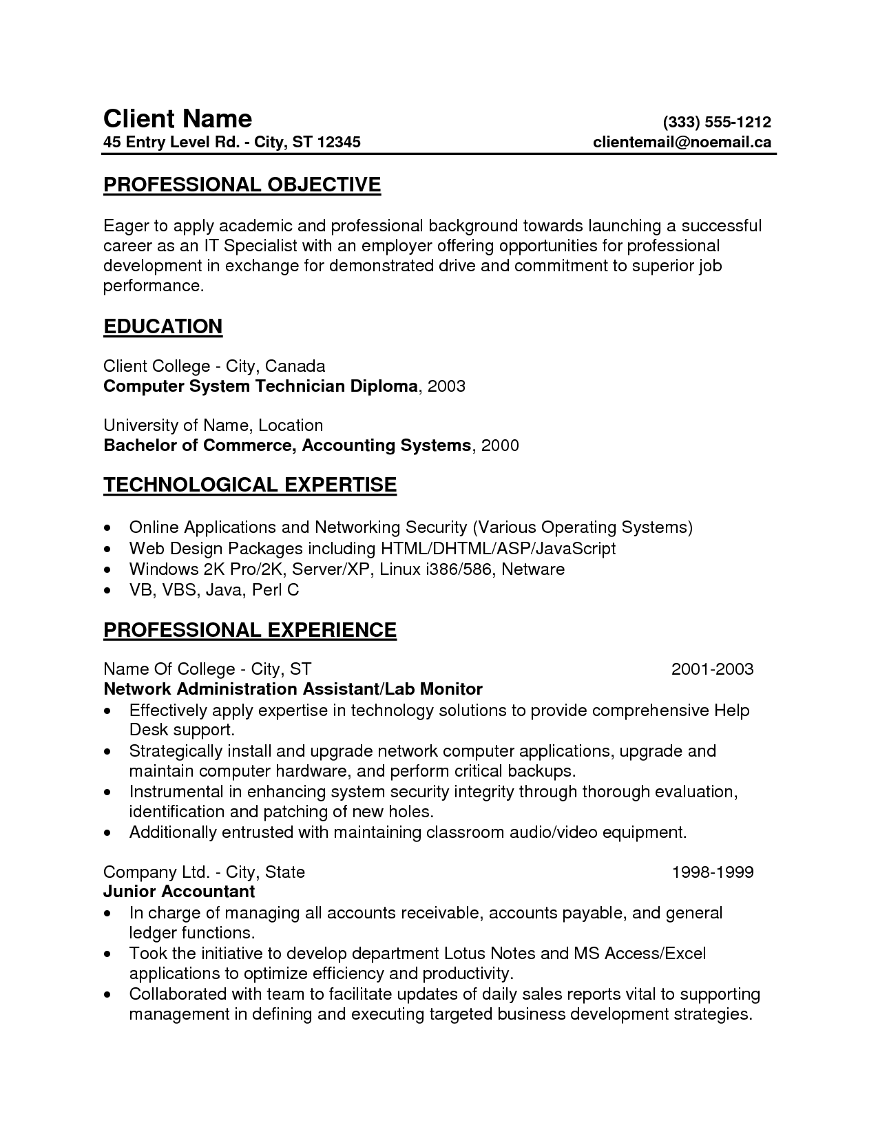 Entry Level Resume Professional Objective And Professional