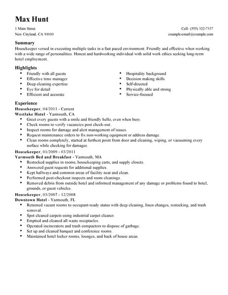 housekeeper hotel hospitality resume example standard summary highlights