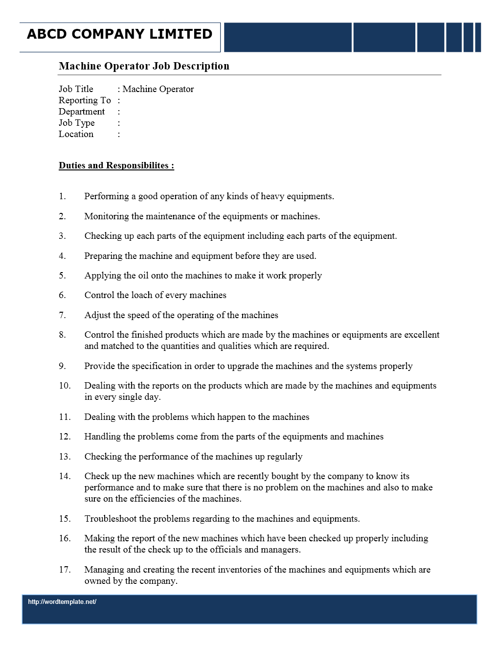 machine operator job description duties and responsibilities - Machine Operator Job Description For Resume
