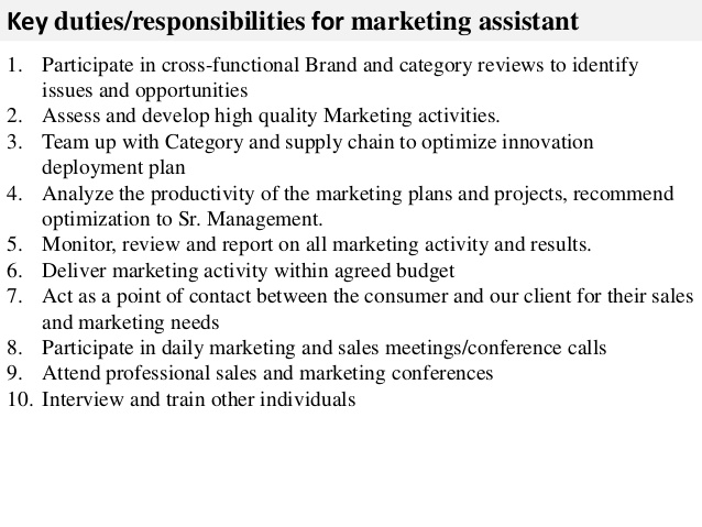 Marketing Assistant Job Description Key Duties Responsibilities For