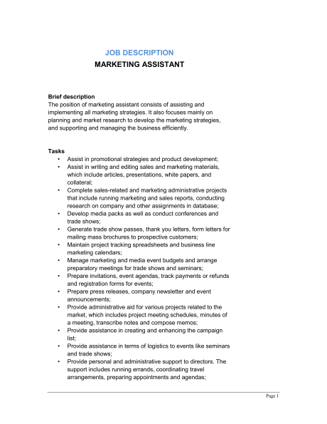 marketing assistant job description sample