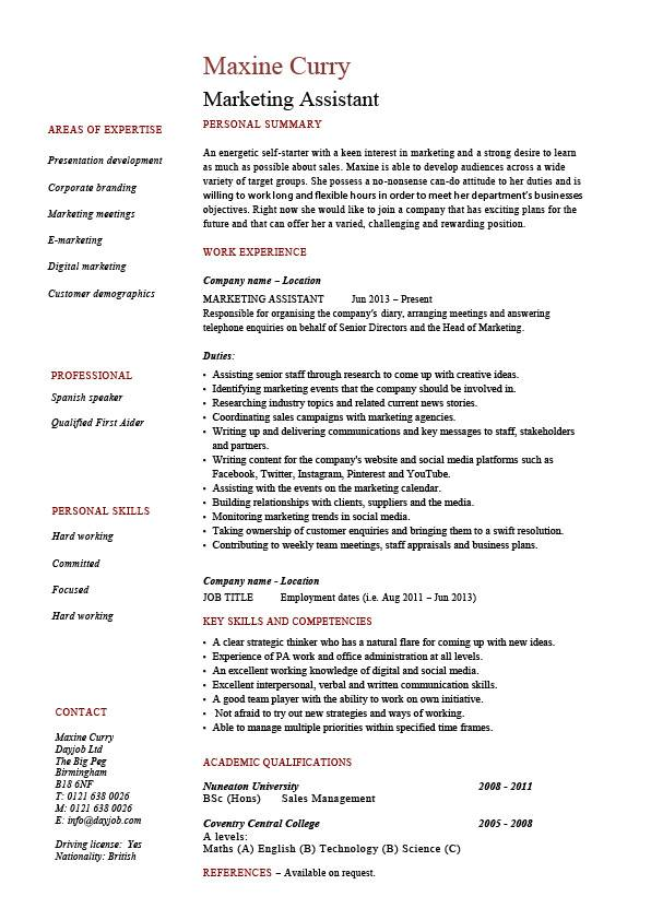 Marketing assistant job description samples for Cv template for marketing job