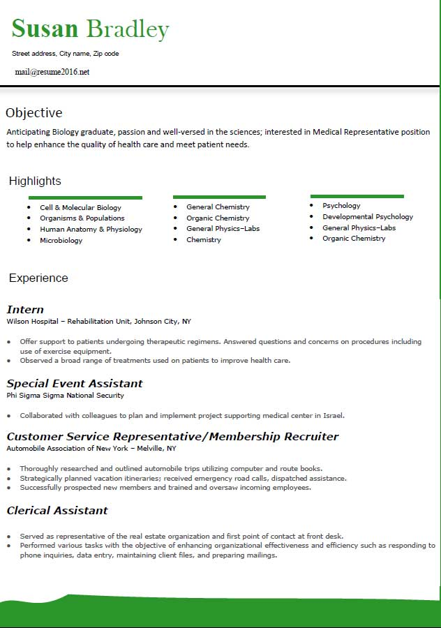 Medical Latest Resume Format 2016 Objective Highlights Experience Business  Sample Business Resume Format  Latest Resume Trends