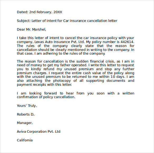 Car insurance cancellation letter sample samplebusinessresume car insurance cancellation letter sample expocarfo Choice Image