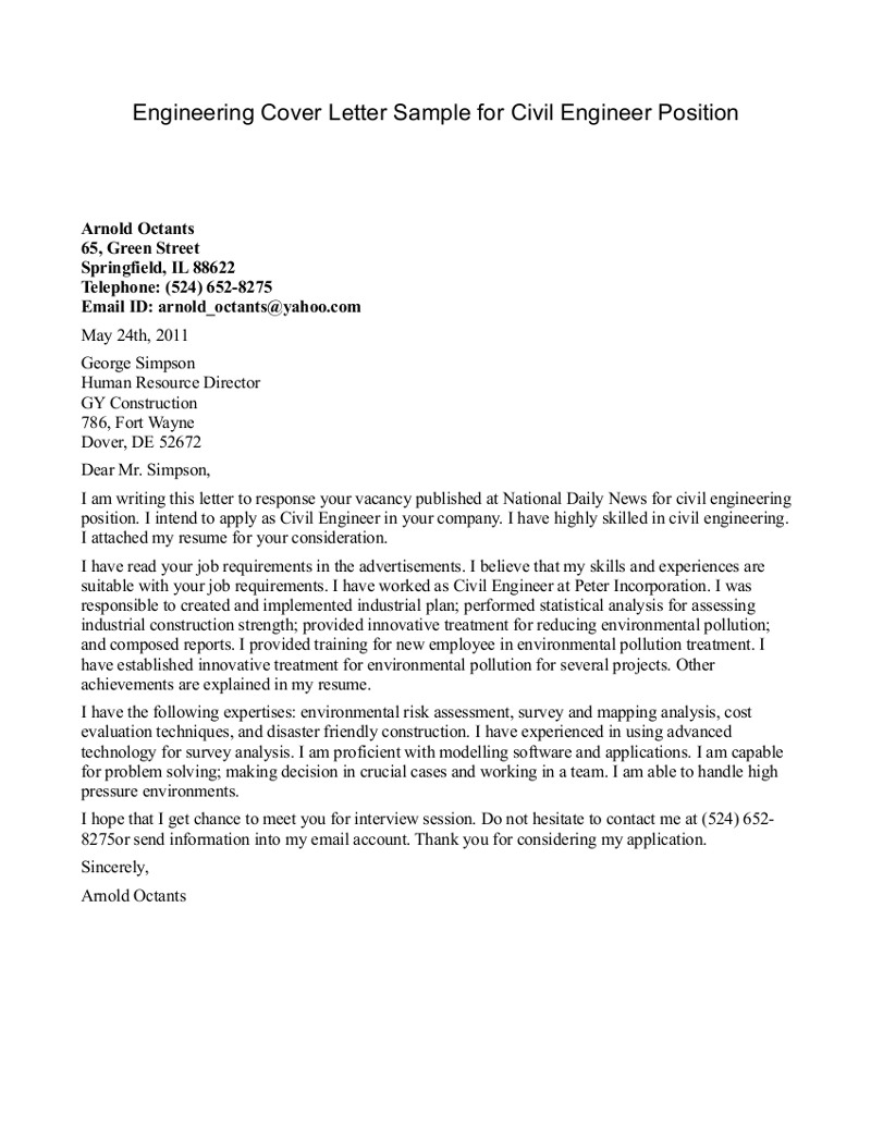civil engineering cover letter engineering cover letter sample for civil engineering position cover letters for engineering - Cover Letters Engineering