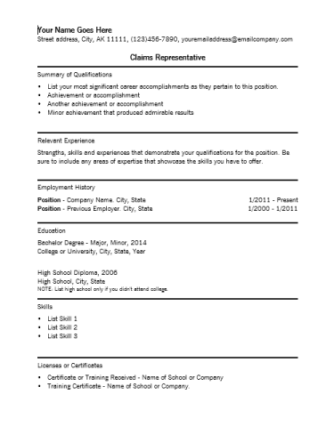 Claims Representative Resume Template insurance resume objective examples