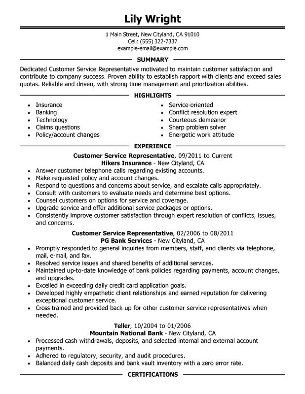 Customer Service Representative Resume Sample summary experience