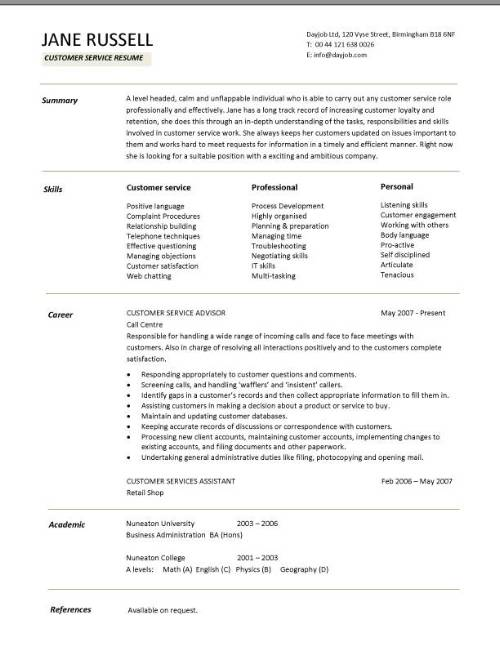 customer service resume skills and career