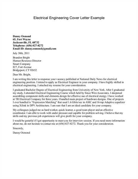 Electrical Engineering Cover Letter Examples | Cover Letter Sample ...