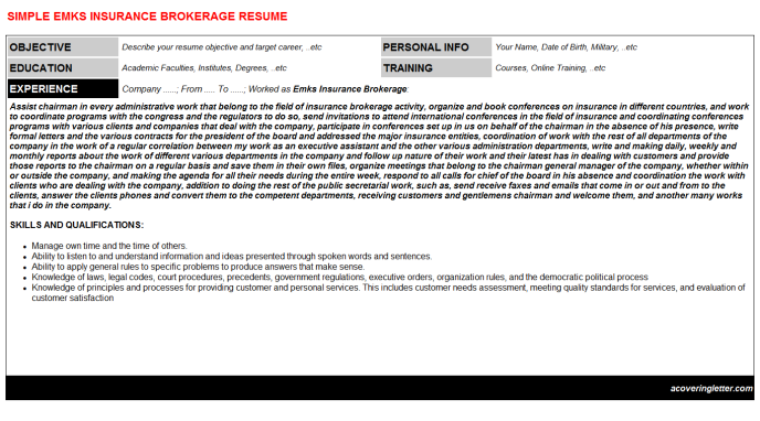 Emks Insurance Brokerage Cover Letter And Resume