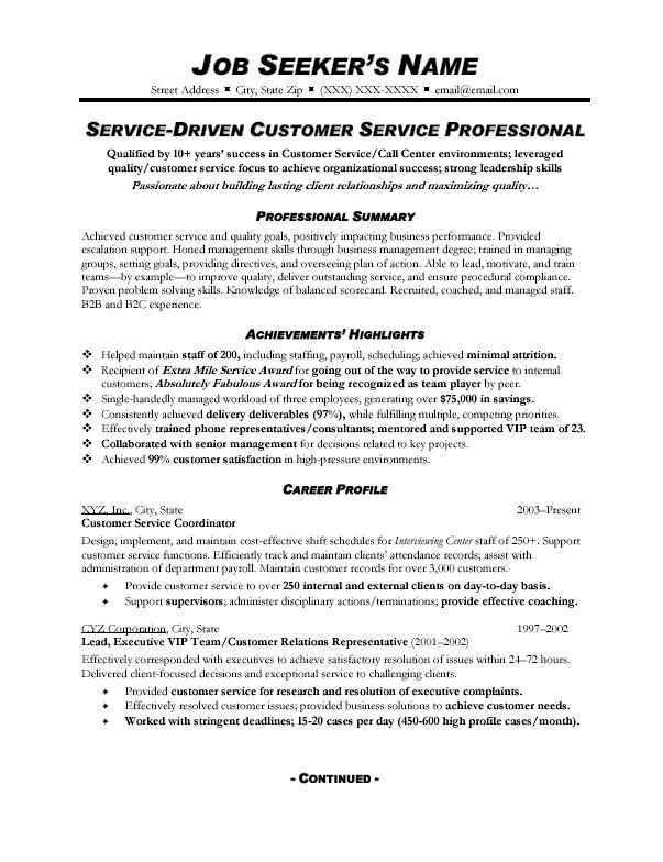 Free Resume Examples 2016 For Customer Service Driven Professional