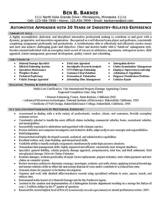 Insurance Appraiser Resume Example Samplebusinessresume