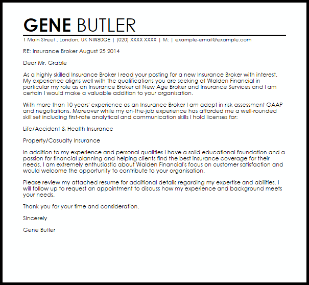 Great Insurance Broker Cover Letter Sample Gene Butler