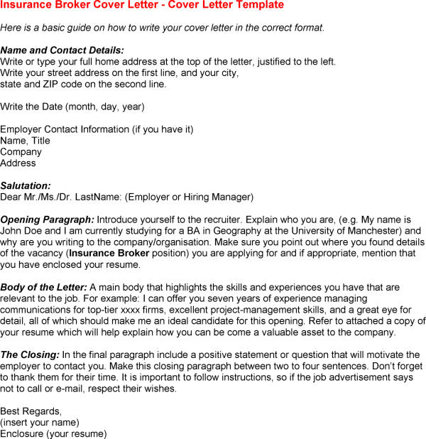 insurance broker cover letter sample
