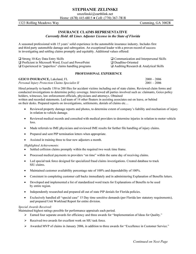 Insurance Claims Representative Resume Sample professional experience