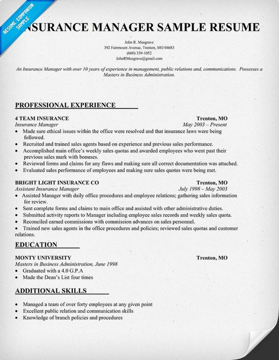 Insurance Manager Resume Sample professional experience