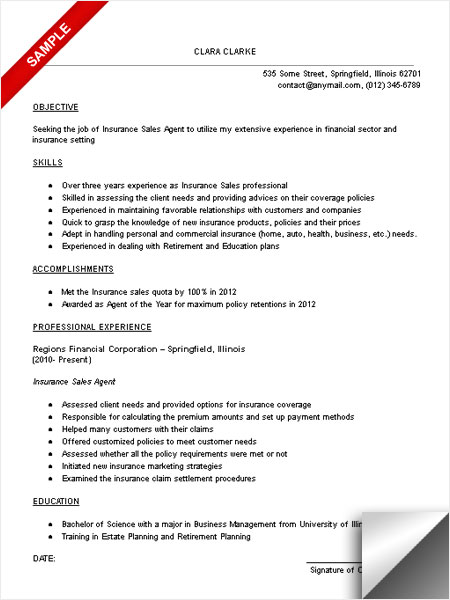 Superb Insurance Sales Resume Examples