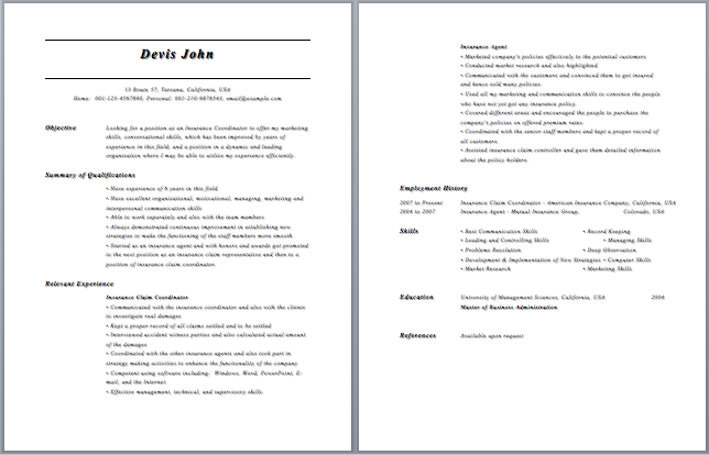 Insurance Specialist Resume Insurance Specialist Resume Sample