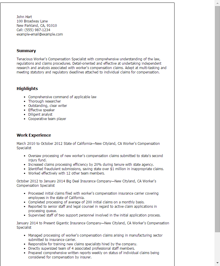 insurance specialist resume sle workers compensation