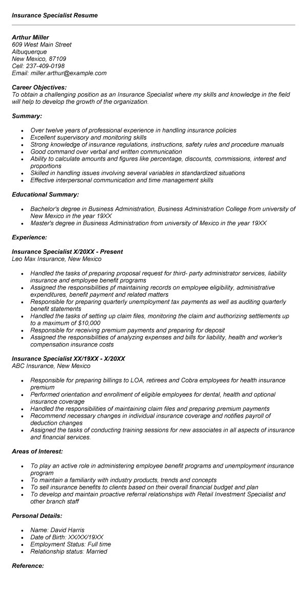 Insurance Specialist Resume Sample career objective