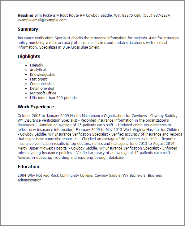 Insurance Specialist Resume Sample Samplebusinessresume Com Samplebusinessresume Com