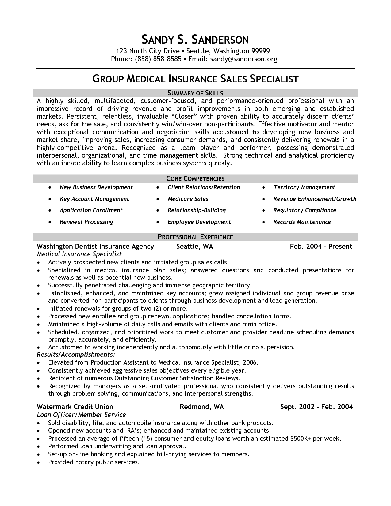 Medical Insurance Specialist Resume Example Group Medical Insurance