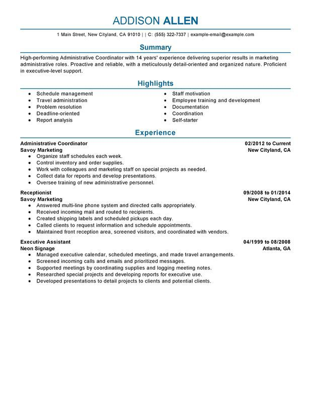 Medical Insurance Specialist Resume Sample Sample Medical Billing  Specialist Resume Administrative Coordinator Resume