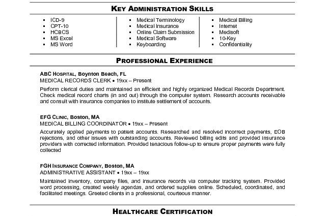 Oceanfronthomesforsaleus Inspiring Accounting Finance Example Medical  Billing And Coding Resume Template  Accounts Receivable Specialist Resume
