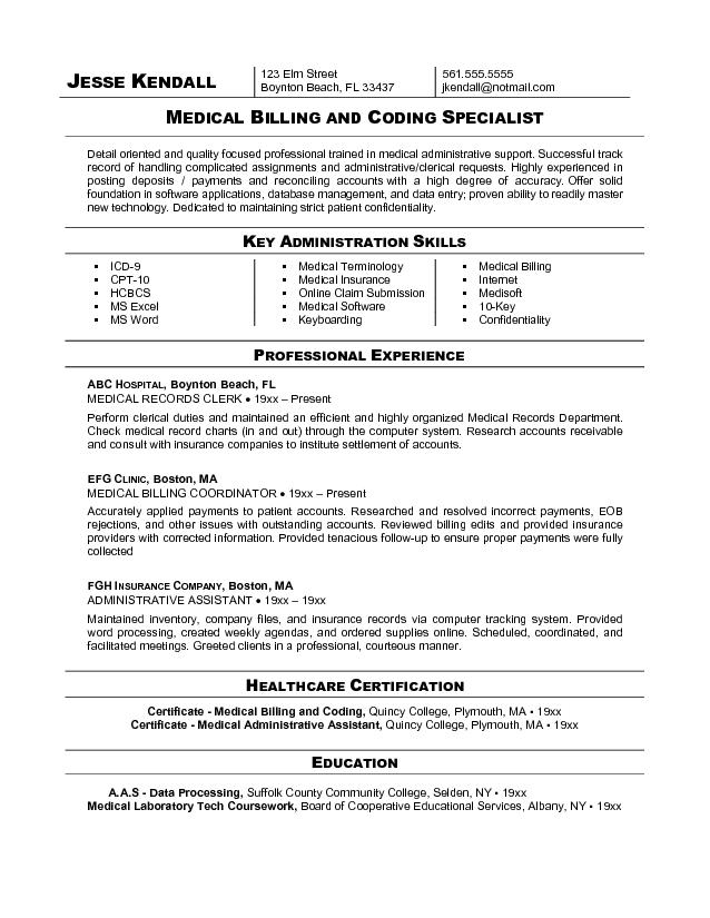 Medical billing and Coding specialist Resume Sample