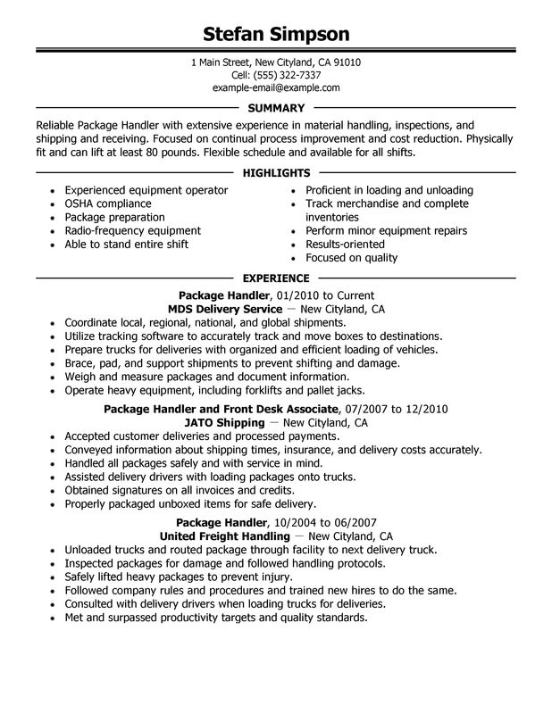 Package Handler transportation Resume Sample summary highlights