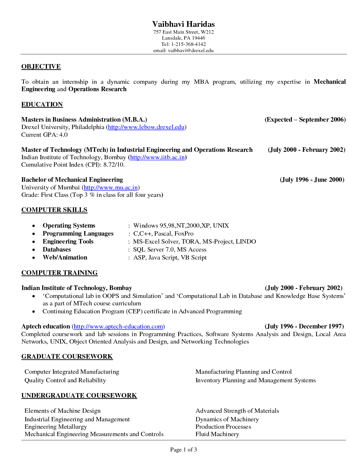 Resume Examples, Internship In Dynamic Company Objective Resume With Master Of Technology In Industrial Engineering