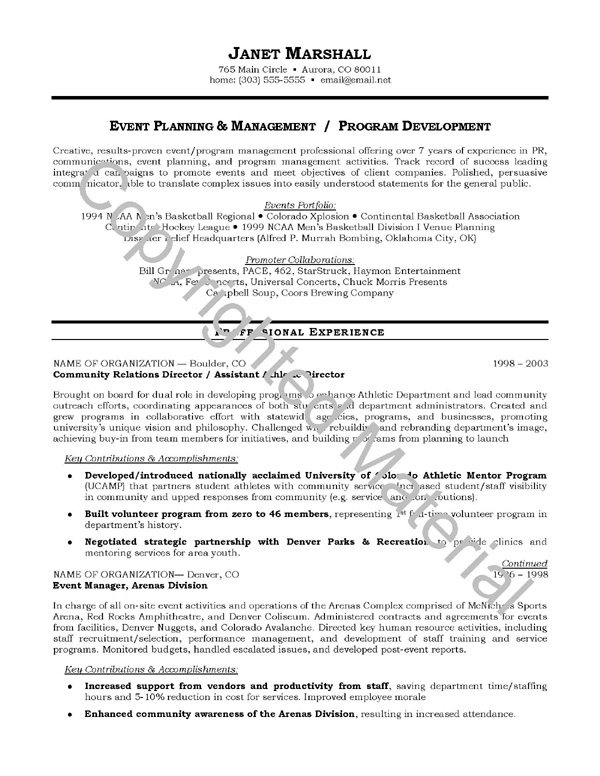 resume objective samples event planning and management