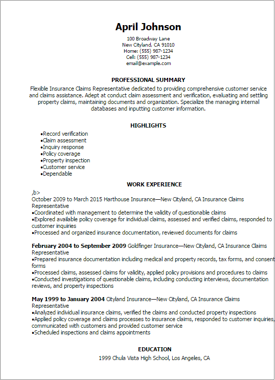 Resume Templates Insurance Claims Representative Resume professional summary