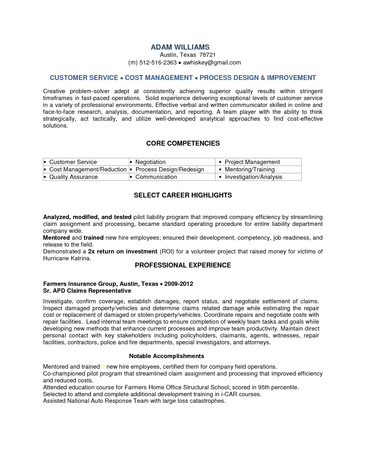 Claims Representative Resume Sample SampleBusinessResumecom