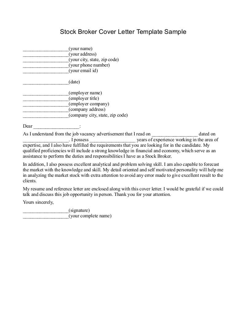 Insurance broker cover letter sample for Covering letter for estate agent job