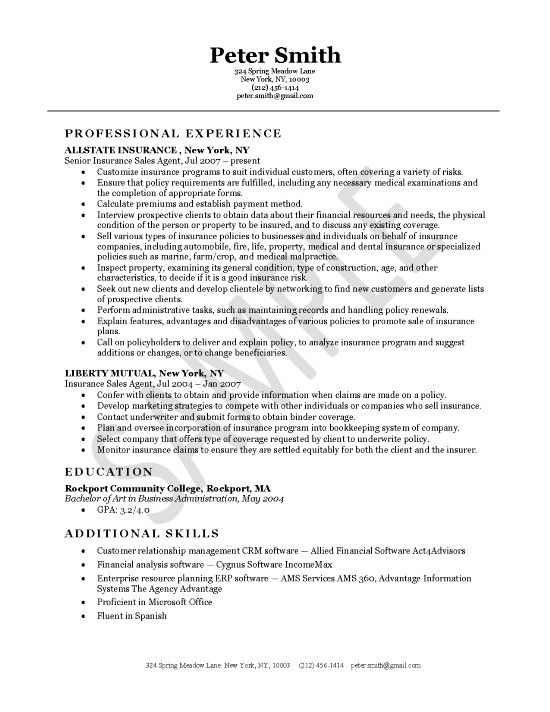 Auto Insurance Agent Resume Sample Resume Objective Samples