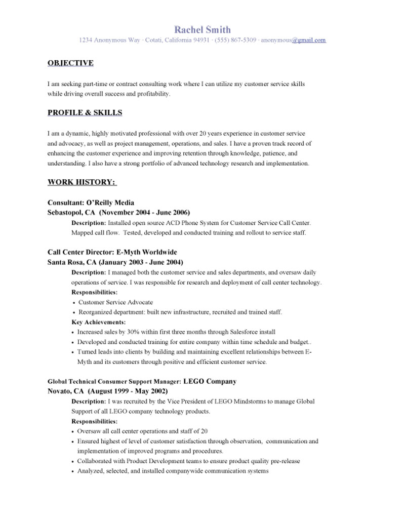 customer service representative resume objective profile and skills